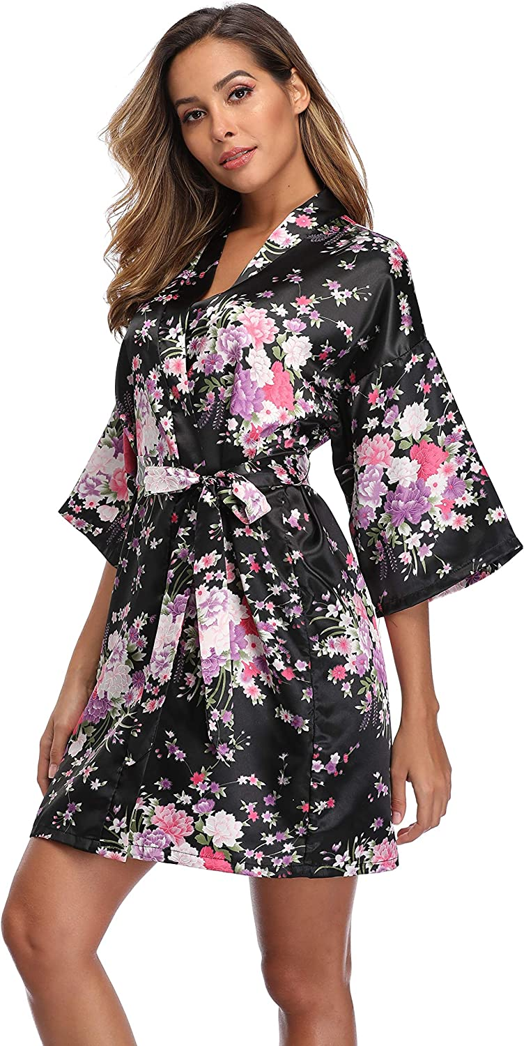 iFigure Women Floral Kimono Robe Satin Import Bridal Gown Sales of SALE items from new works Dressing Brid