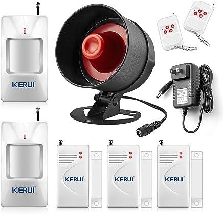 KERUI Standalone Home Office & Shop Security Alarm System Kit, Wireless Loud Indoor/Outdoor Weatherproof Siren Horn with Remote Control and Door Contact Sensor,Motion Sensor,Up to 110db
