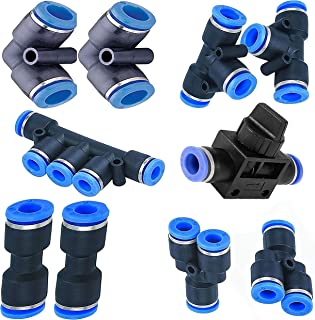 Utah Pneumatic 4mm od or 5/32 Push To Connect Fittings pneumatic fittings kit 2 Spliters+2 elbows+2 tee+2 Straight+1 Manifold+ Hand Valves Ultimate professional set 10 pack Plastic (4mm combo kit)
