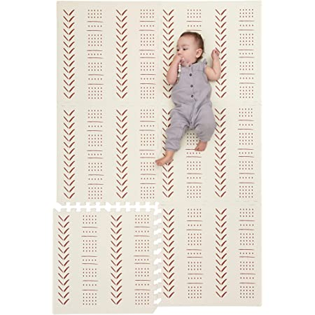Childlike Behavior Baby Play Mat - Extra Large, Non-Toxic Foam Play Mat with Soft Interlocking Floor Tiles 72x48 Inches - Baby Floor Mat for Infants, Toddlers and Kids (Mudcloth - Beige)