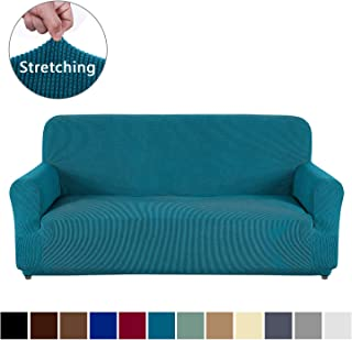 AUJOY Couch Cover Stretch 1-Piece Sofa Slipcover for 3 Cushion Couch Jacquard Spandex Fabric Furniture Protector with Anti-Slip Foams (Sofa, Blackish Green)