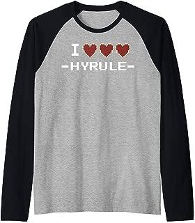 I Heart Hyrule Pixel Art Text Raglan Baseball Tee