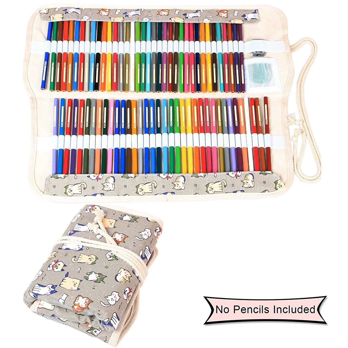 Damero Colored Pencils Case Wrap 100 Holes, Canvas Wrap Pencil Holder Storage Organizer Roll with Multi-purpose Pouch for Artist and Students, Cartoon Cats(NO Pencil Included)