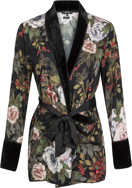 Glam and Gloria Womens Floral Velvet Kimono Cardigan Jacket Tie Waist Robe Black