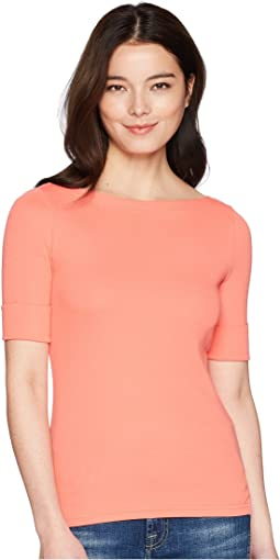 LAUREN Ralph Lauren Petite Cotton Boat Neck T-Shirt