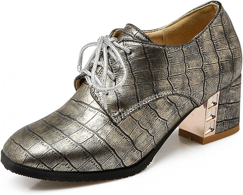 Rongzhi Womens Chunky Block Heels Lace Up Crocodile Print shoes Square Toe