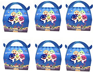 Astra Gourmet Baby Cute Shark Party Favor Boxes - Shark Birthday Baby Shower Party Treat Candy Boxes - Set of 24