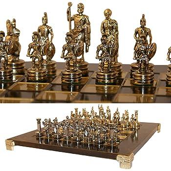 Griechisch Roman Armee Schach Metall Ubergames Schachspiel Patina Gr/ünes Gold