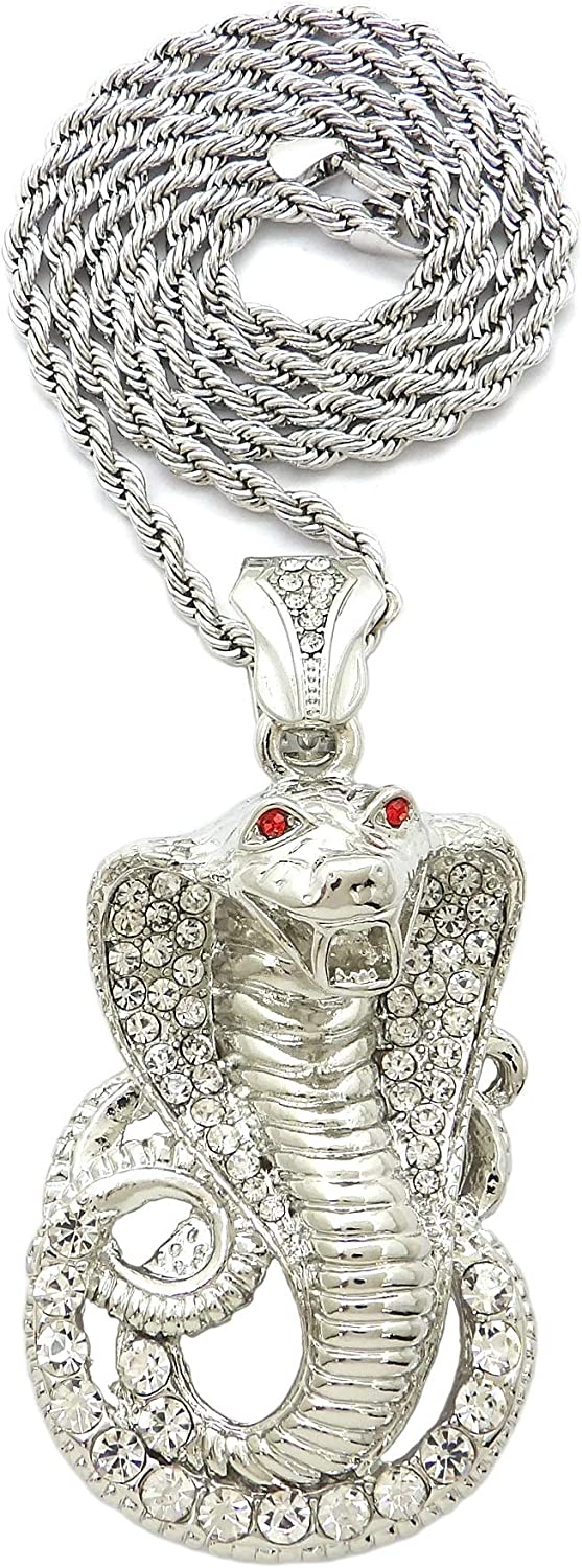 SJ ICED Out Cobra Snake Pendant 4mm/24 Rope Chain Necklace RC2809R