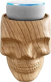 Dekodots Smart Speaker Table Stand (Wood Skull) - Decorative Holder for Amazon Echo Dot or Google Home Mini - Portable Design, No Sound Distortion