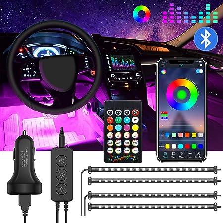Jinhuaxin 72 LED Striscia LED Auto, Striscia Lampadine Led Auto Interni, 16 Colori RGB Multicolore Auto Luci Interne Kit di illuminazione con APP Telecomando USB, Caricabatteria auto DC 12V