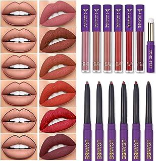 UCANBE 13pcs Lady's Night Lipstick Makeup Set, 6 Velvety Matte Liquid Lipsticks + 6 Matching Smooth Lip Liner + 1 Moisturizing Lip Gloss Primer, Waterproof Long Lasting Lip Make Up Gift Kit
