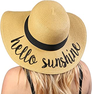 56a97c13849 Funky Junque Women s Bold Cursive Embroidered Adjustable Beach Floppy Sun  Hat
