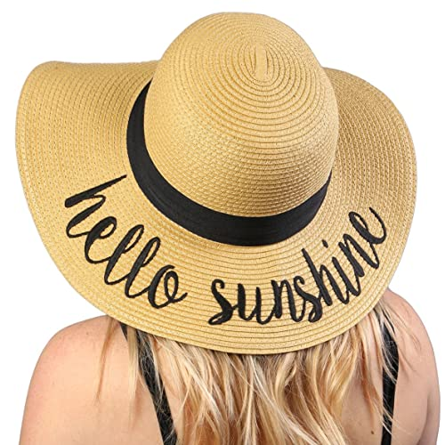 Funky Junque Women s Bold Cursive Embroidered Adjustable Beach Floppy Sun  Hat 3e0a0c2be34