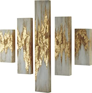 Ashley Furniture Signature Design - Devlan Wall Art - Set of Five - Contemporary Glam - Gold Finish/White