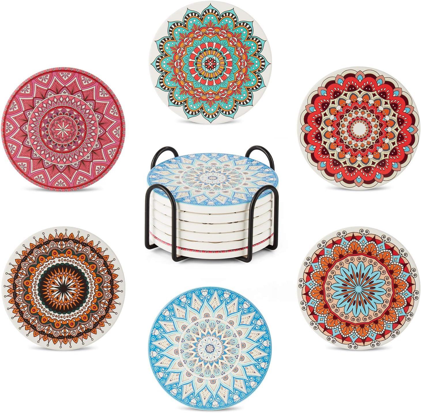 Enindel 3033.02 Absorbent Ceramic Coaster, Cork Base, Mandala Style, with Coaster Holder, Set of 6 Coasters