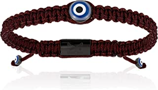 Double Bone Evil Eye Handmade Braided Bracelet with Black PVD Lucky Eye Unisex and Adjustable