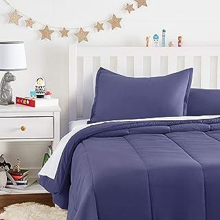 Amazon Basics Kid's Comforter Set - Soft, Easy-Wash Microfiber - Full/Queen, Twilight Blue