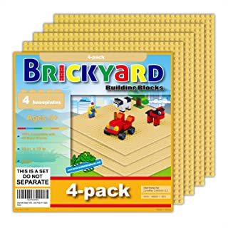 Brickyard Building Blocks 4 Sand (Tan) Baseplates, Improved Design 10 x 10 Inches Large Thick Base Plates for Building Bricks, for Activity Table or Displaying Construction Toys (4-Pack, Sand)