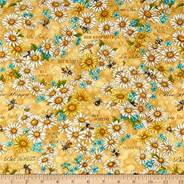Fabri-Quilt Paintbrush Studios Bee Kind Flowers Fabric, Gold/Green, Fabric By The Yard