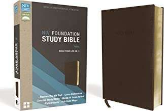 NIV, Foundation Study Bible, Leathersoft, Brown, Red Letter Edition