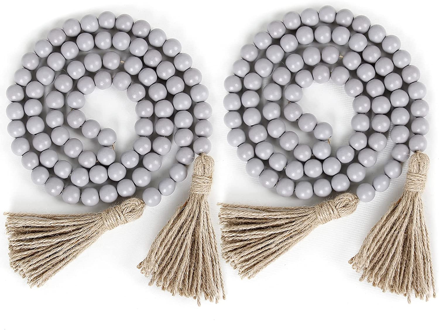 2Pcs Farmhouse Beads, 58in Wood Bead Garland with Tassels,Boho Beads Garland Tiered Tray Decor Rustic Country Decor(Grey)
