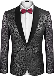 COOFANDY Men's Floral Suit Jacket One Button Stylish Jacquard Dinner Jacket Wedding Party Prom Tuxedo Blazer