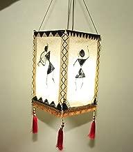 Epica Handcrafted Warli Design Paper Diwali Hanging Lantern Lamp Lampshade - Akashkandil - Akashdiya for Home Decoration (Cream)