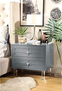 Inspired Home Pablo Dark Grey Glossy Nightstand - 3-Drawer | Mirrored | Side Table | Modern | Lucite Acrylic Legs