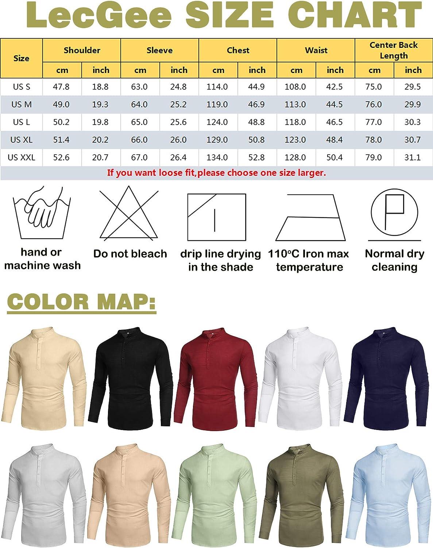 LecGee Men's Cotton Linen Henley Shirt Long Sleeve Casual T-Shirt Beach Yoga Tops Light Grey
