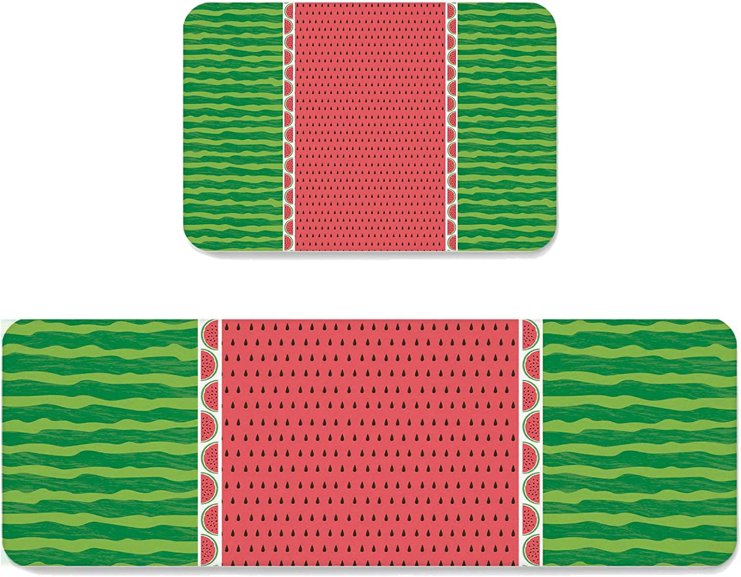 Watermelon Rind Stripe Kitchen Mat Set Cushioned 2 OFFicial store Anti-Fatig Max 46% OFF of