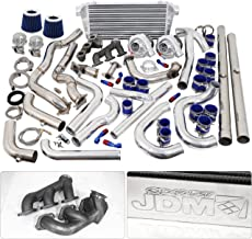 For Ford Mustang V6 3.8L Twin Turbo Charger Manifold Downpipe Intercooler Wastegate Oil Line Kit Air Filter Boost Controller Upgrade Blue Chrome Set