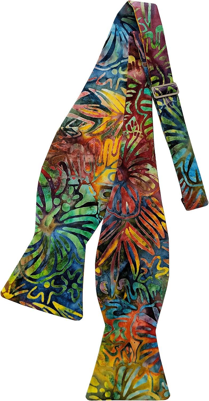 Holiday Bow Ties Mens Hawaiian Multi-Color Floral Celebration Self-tie Bow Tie