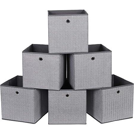 SONGMICS Lot de 6 Boîtes de Rangement, Coffre, Panier, Corbeille, Organisateur de Jouets, 30 x 30 x 30 cm, en Tissu Non-tissé Imitation Lin, Gris foncé RFB002G01