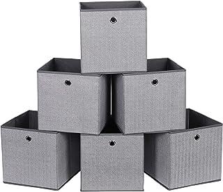 SONGMICS Lot de 6 Boîtes de Rangement, Coffre, Panier, Corbeille, Organisateur de Jouets, 30 x 30 x 30 cm, en Tissu Non-ti...