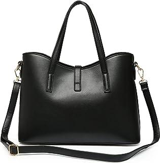 Fashion Black Leather HandBag Set For Women Dress Top Handle Bag Casual Chain Shoulder Bag Tote Bag