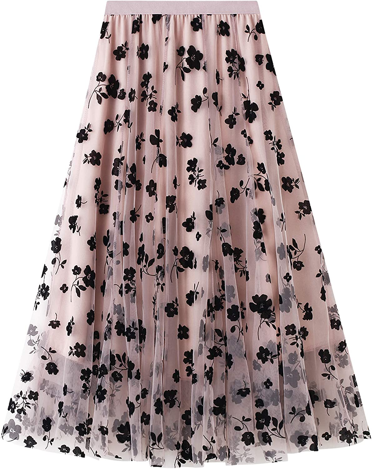Women Long Pleated Skirts High Waist Pleated A-line Swing Skirt Stylish Flared Maxi Skirts Flower Embroidery