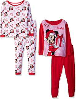 77310a4dfc1c2 Disney Girls' Minnie Mouse 4-Piece Cotton Pajama Set