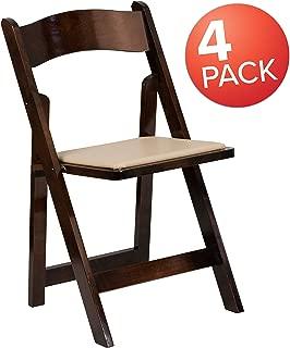 Flash Furniture 4 Pk. HERCULES Series Fruitwood Wood Folding Chair with Vinyl Padded Seat