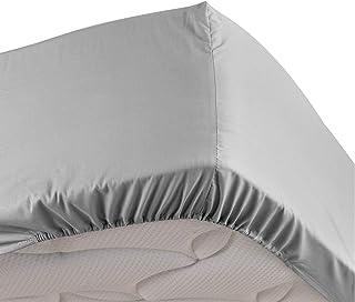 DOUCEUR D'INTERIEUR drap housse 2 personnes 140 x 190 cm percale uni percaline gris