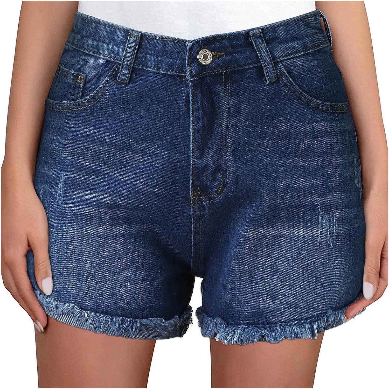 Mneostt Women's Pant High Waiste Frayed Hem Casual Denim Shorts Ripped Short Jeans