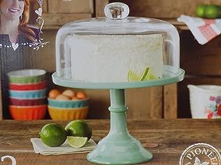 Pioneer Woman Pedestal Cake Plate & Glass Lid Jadeite Color 10 Inch