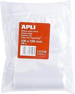 41b94d1ae APLI 13128 - Pack de 100 bolsas de plástico con autocierre, 100 x 150 mm