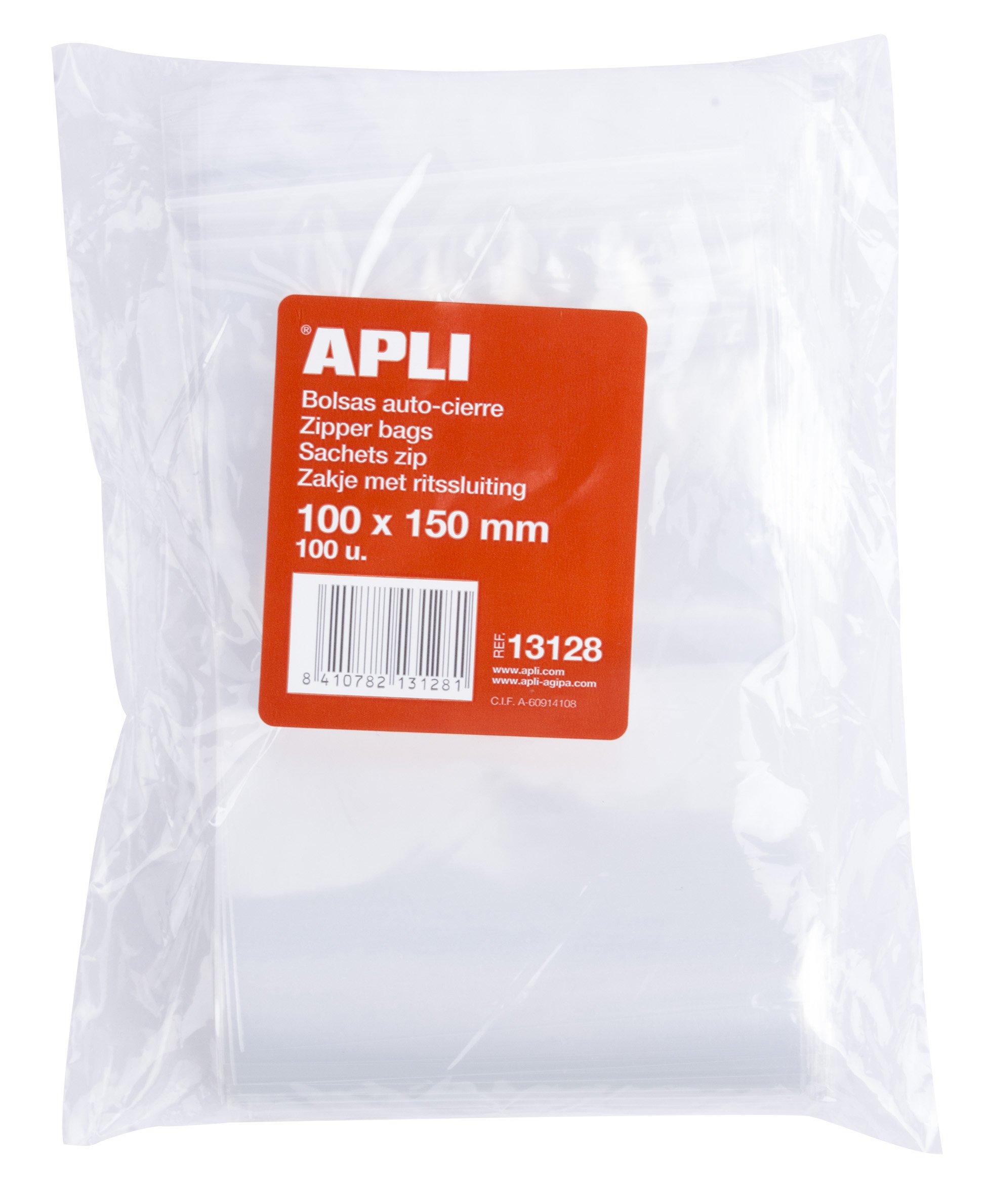 APLI 13128 - Pack de 100 bolsas de plástico con autocierre, 100 x ...