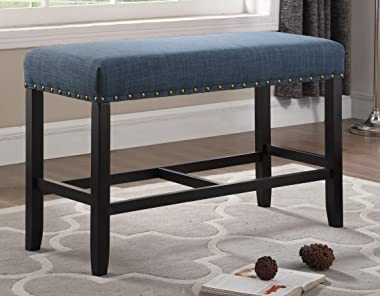 Roundhill Furniture PB162BU Biony Fabric Counter Height Dining Bench with Nailhead Trim, Blue