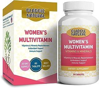 الفيتامينات الطبيعية المتعددة من اولادول للنساء مع فيتامين C وفيتامين D وB6 وB12 والبيوتين والكالسيوم وغيرها، 60 قرصًا