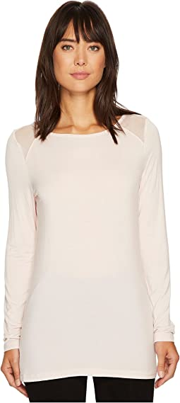 Ivanka Trump - Mesh Shoulder Patch Knit Long Sleeve Tee