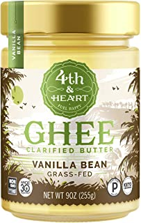 Vanilla Bean Grass-Fed Ghee Butter by 4th & Heart, 9 Ounce, Keto, Pasture Raised,..