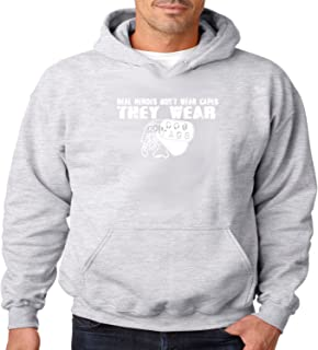 Military Hoodie Real Heroes Wear Dog Tags Mens Hooded Sweatshirt S-3XL (Heather Gray, 3XL)