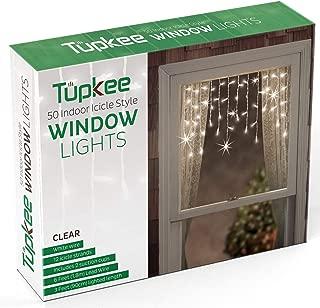 Tupkee Window Icicle Lights Set, 3 Feet (0.91 m), 50 Clear Incandescent Christmas Indoor Icicle Lights